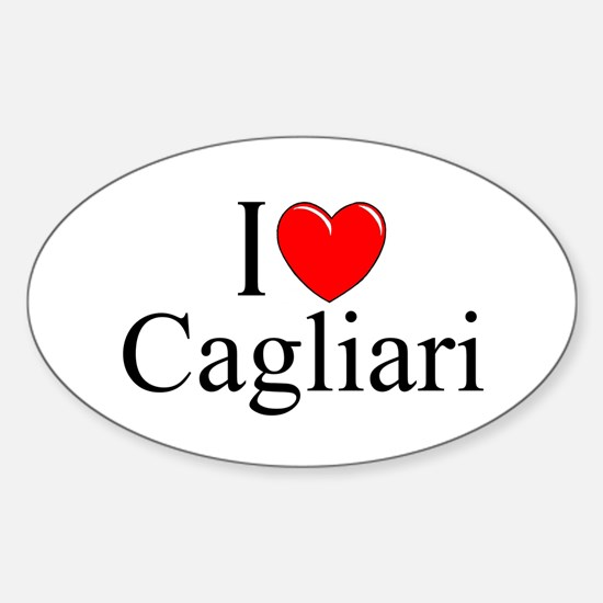 """I Love (Heart) Cagliari"" Oval Decal"