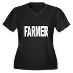 Farmer Women's Plus Size V-Neck Dark T-Shirt