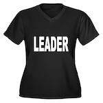 Leader Women's Plus Size V-Neck Dark T-Shirt
