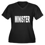 Minister Women's Plus Size V-Neck Dark T-Shirt