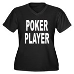 Poker Player Women's Plus Size V-Neck Dark T-Shirt