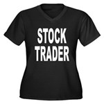 Stock Trader Women's Plus Size V-Neck Dark T-Shirt