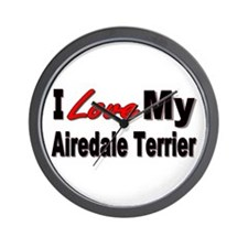 I Love My Airedale Terrier Wall Clock