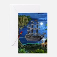 Mystical Moonlit Pirate Ship Greeting Cards