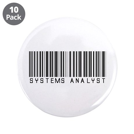 "Systems Analyst Barcode 3.5"" Button (10 pack)"