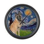 Starry/Belgian Malanois Large Wall Clock