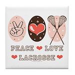 Peace Love Lacrosse Tile Coaster