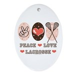 Peace Love Lacrosse Oval Ornament
