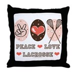Peace Love Lacrosse Throw Pillow