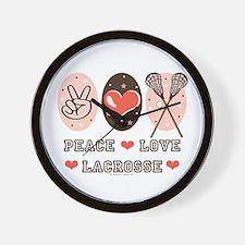 Peace Love Lacrosse Wall Clock