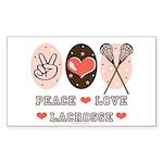 Peace Love Lacrosse Rectangle Sticker 10 pk)