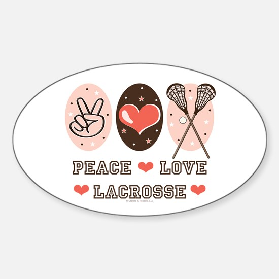 Peace Love Lacrosse Oval Decal