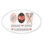 Peace Love Lacrosse Oval Sticker (10 pk)