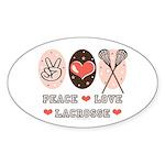 Peace Love Lacrosse Oval Sticker (50 pk)