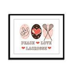 Peace Love Lacrosse Framed Panel Print