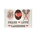 Peace Love Lacrosse Rectangle Magnet (100 pack)