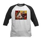 Santa/Tibetan Spaniel Kids Baseball Jersey