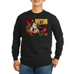 Santa/Tibetan Spaniel Long Sleeve Dark T-Shirt