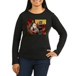 Santa/Tibetan Spaniel Women's Long Sleeve Dark T-S