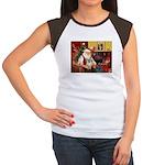 Santa/Tibetan Spaniel Women's Cap Sleeve T-Shirt