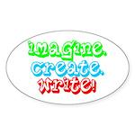 Imagine Create Write Oval Sticker