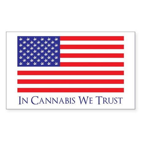 In Cannabis We Trust Rectangle Sticker 10 pk)