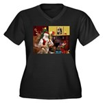 Santa's Red Husky Women's Plus Size V-Neck Dark T-