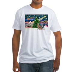 Xmas Magic & S Husky Fitted T-Shirt