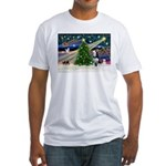 Xmas Magic & Siberian Husky Fitted T-Shirt