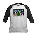 Xmas Magic & Siberian Husky Kids Baseball Jersey