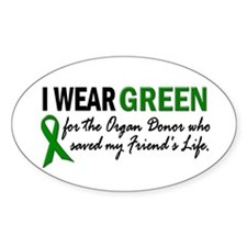 I Wear Green 2 (Friend's Life) Oval Decal
