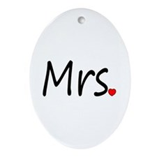 Mrs (Red Heart) Oval Ornament