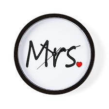 Mrs (Red Heart) Wall Clock
