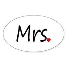 Mrs (Red Heart) Oval Decal