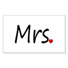 Mrs (Red Heart) Rectangle Decal