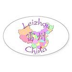 Leizhou China Map Oval Sticker (10 pk)