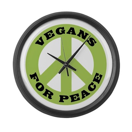 Vegans For Peace Large Wall Clock