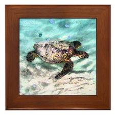 Swimming Sea Turtle Framed Tile