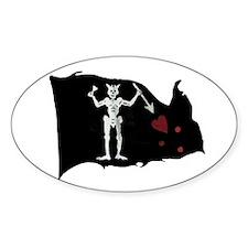 Blackbeard Pirate Flag Oval Decal