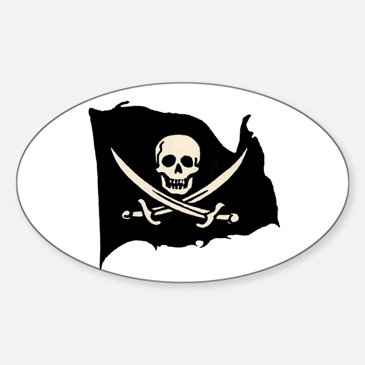 Calico Jack Pirate Flag Oval Decal