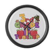 3rd Grade Teacher Large Wall Clock