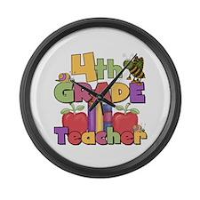 4th Grade Teacher Large Wall Clock