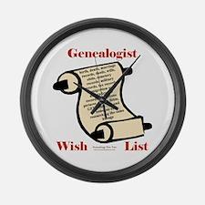 Genealogy Wish List Large Wall Clock