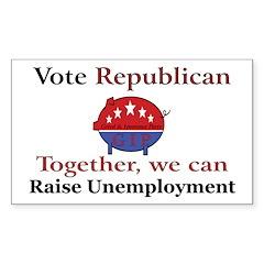 Unemployment Pig Rectangle Decal