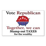 Tax Cut Pig Rectangle Sticker 50 pk)