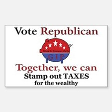 Tax Cut Pig Rectangle Decal
