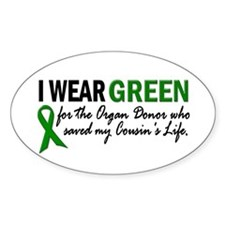 I Wear Green 2 (Cousin's Life) Oval Decal