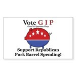 Pork Barrel Pig Rectangle Sticker
