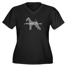 Airedale Terrier Women's Plus Size V-Neck Dark T-S