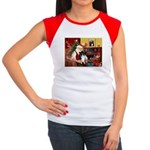 Santa's Bi Black Sheltie Women's Cap Sleeve T-Shir
